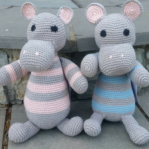 Adorable crocheted hippos, handmade in Uganda