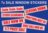 Sale huge stock clearance half price window shop sign poster sticker STORE POS