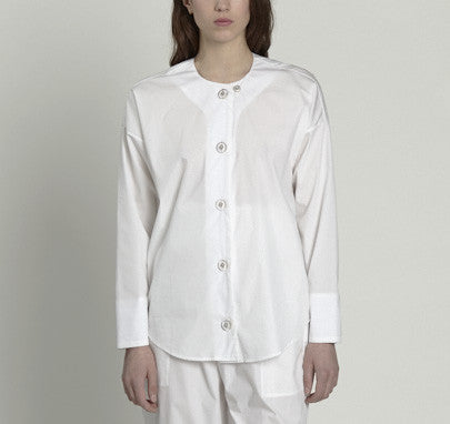 collarless, large button blouse - white