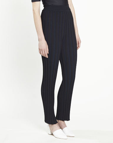 pleated knit pants - black/navy