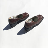 wide toe pump stamped croc brown
