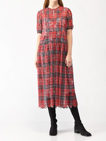 plaid lace dress