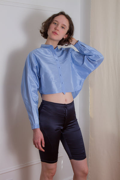 taffeta cropped button up