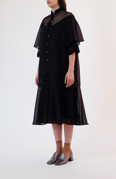 dobby cloth shawl dress - black