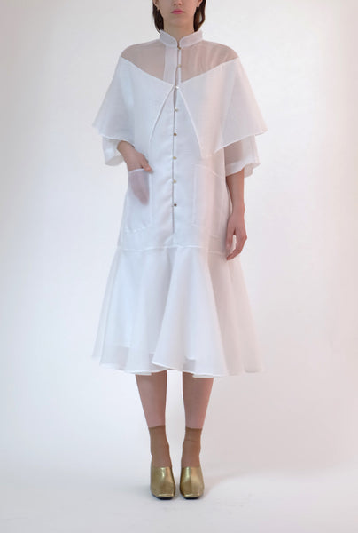 dobby cloth shawl dress - white