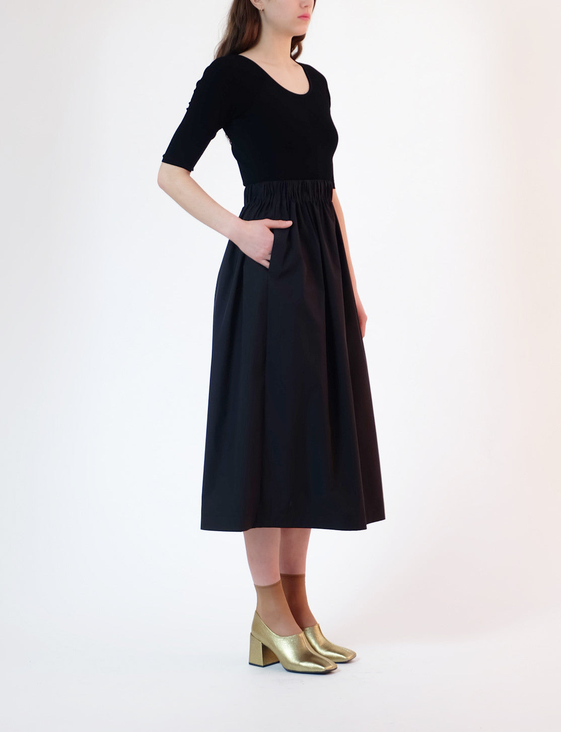 elastic waist skirt - black