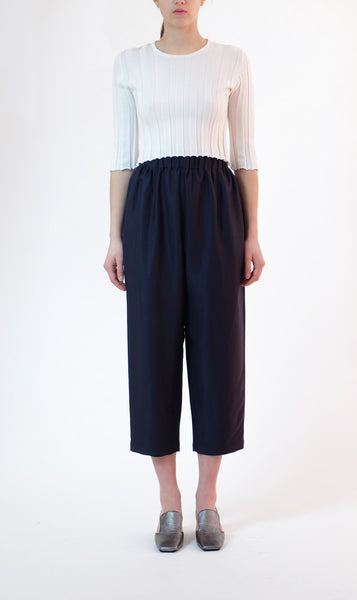 elastic waist trousers - blue/black