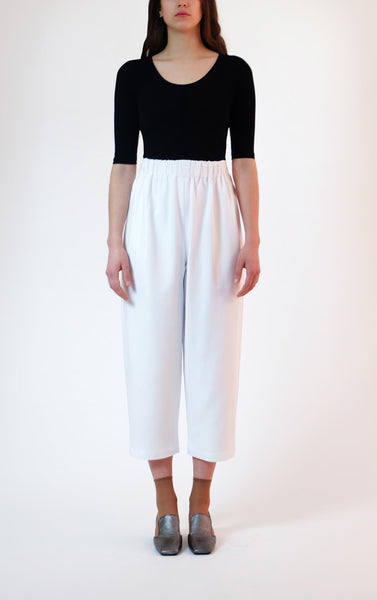 elastic waist trousers - white