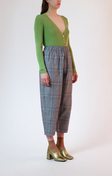 elastic waist trousers - summer plaid