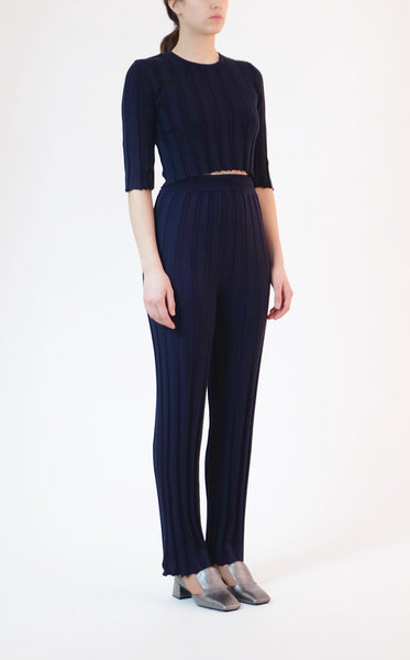 pleated knit pant - navy