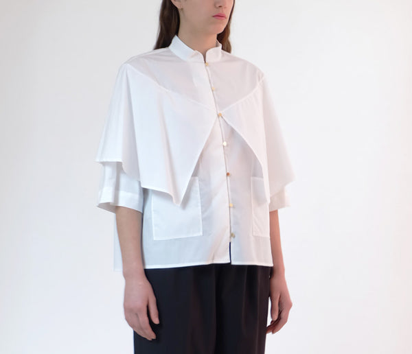 cotton/nylon shawl blouse - white