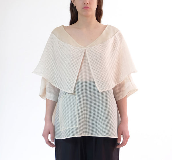 dobby cloth shawl top - beige