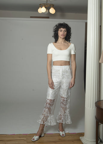 folk embroidered ruffle pants