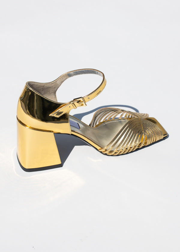 Suzanne Rae High Heel 70's Strappy Sandal in White