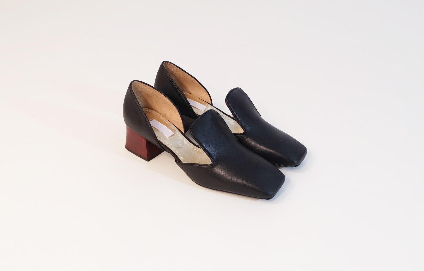 d'orsay with wood heel nappa black