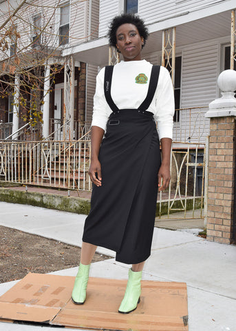 wrap skirt with suspenders