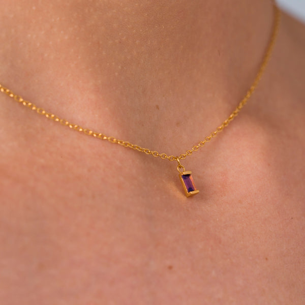 Amethyst Ingot Necklace in Gold