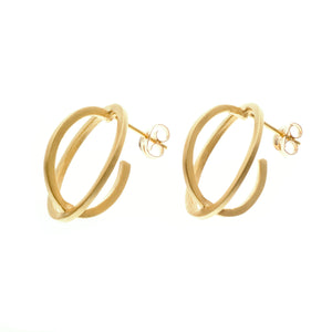 Medium ellipse stud earrings gold plate - Nancy rose jewellery