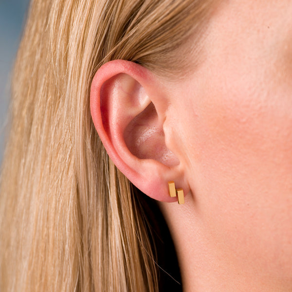 Ingot Earrings in Gold