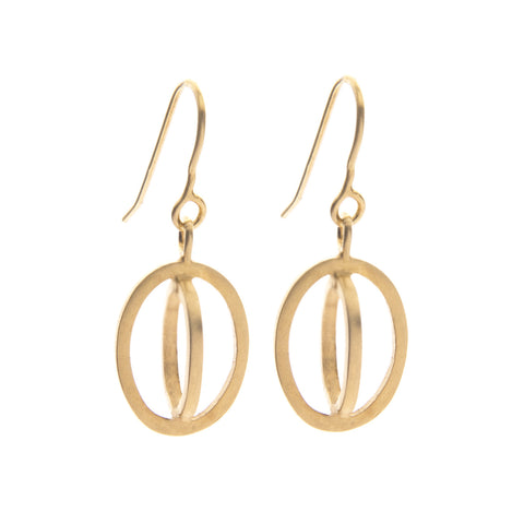 Small ellipse hook earrings gold plate - Nancy rose jewellery