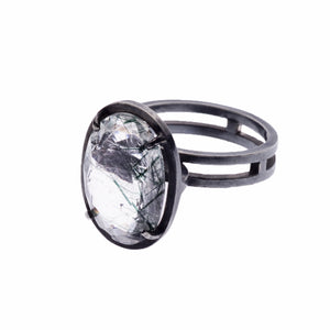 Green rutilated quartz ellipse ring - Nancy rose jewellery