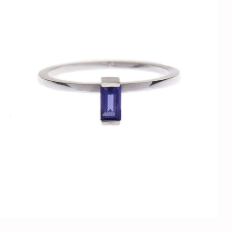 Iolite Ingot Ring in Silver