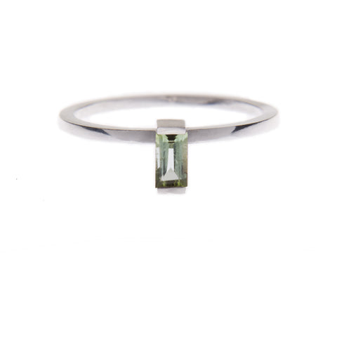 Green Tourmaline Ingot Ring in Silver