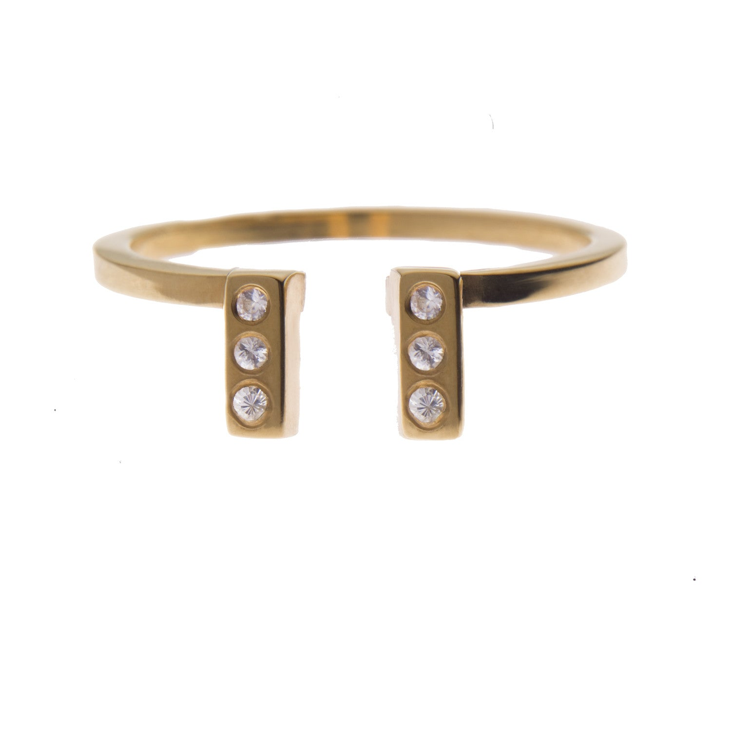 Double Ingot Ring with White Sapphire in Gold