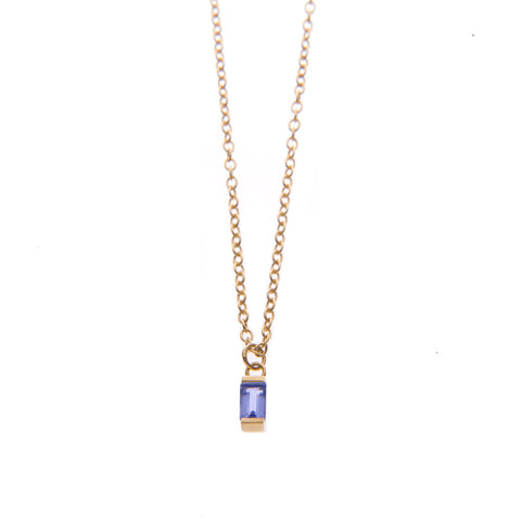 Iolite Ingot Necklace in Gold