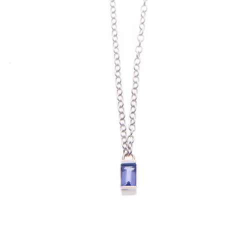 Iolite Ingot Necklace in Silver