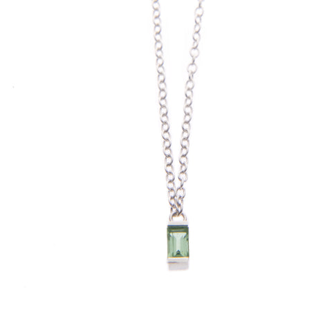Green Tourmaline Ingot Necklace in Silver