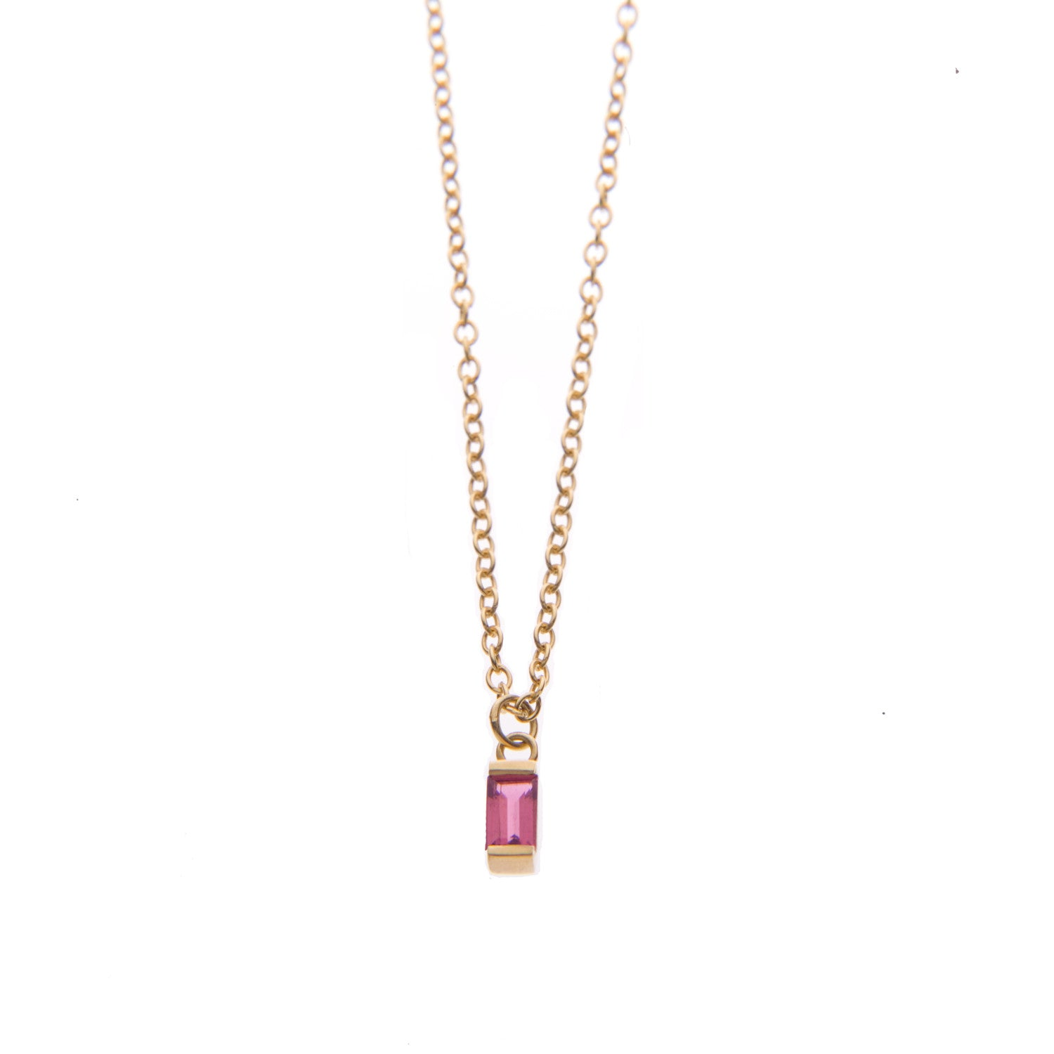 Pink Tourmaline Ingot Necklace in Gold
