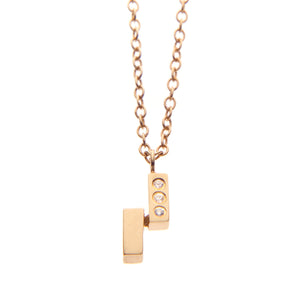 Ingot Necklace with White Sapphire in Gold