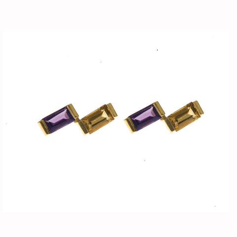 Amethyst & Citrine Ingot Earrings in Gold