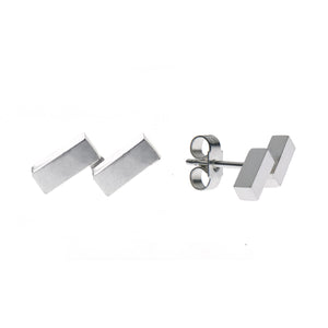 Ingot Earrings in Silver