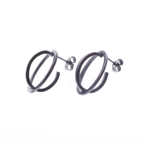 Medium ellipse stud earrings oxidised - Nancy rose jewellery