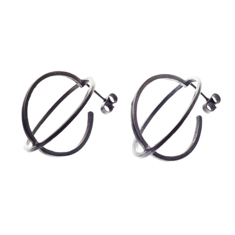 Large ellipse stud earrings oxidised - Nancy rose jewellery - 1
