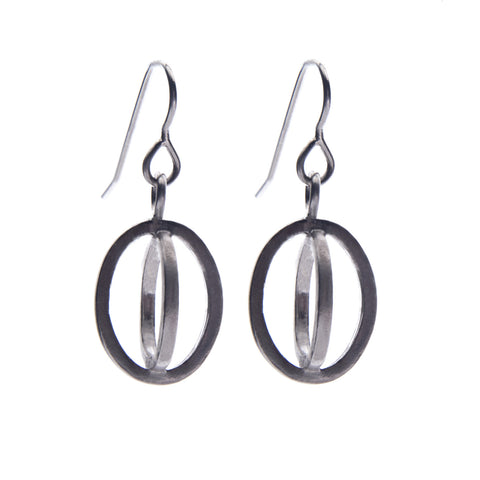 Small ellipse hook earrings oxidised - Nancy rose jewellery