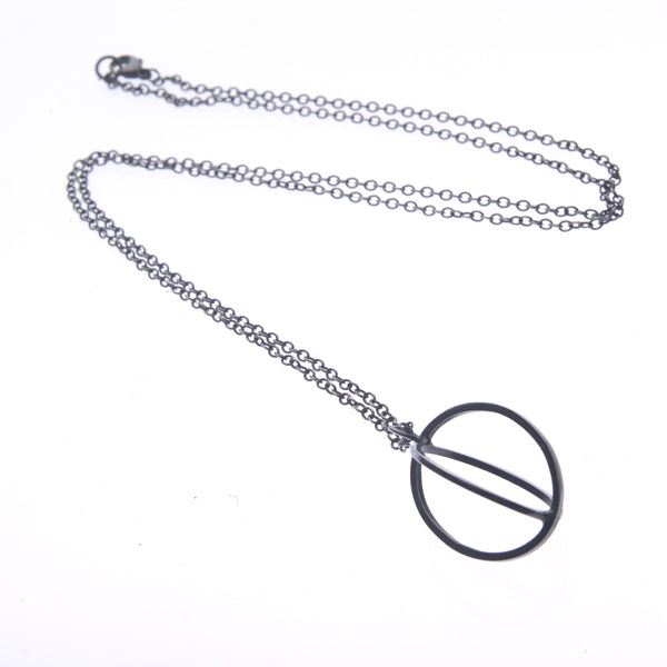 Large ellipse pendant oxidised - Nancy rose jewellery - 2