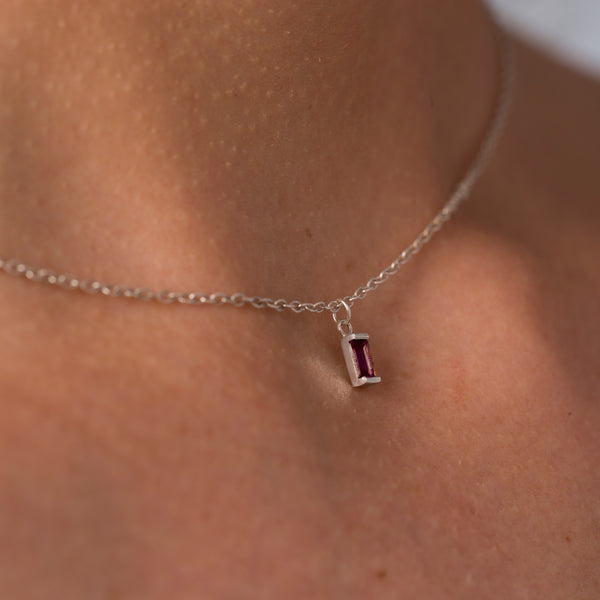 Pink Tourmaline Ingot Necklace in Silver