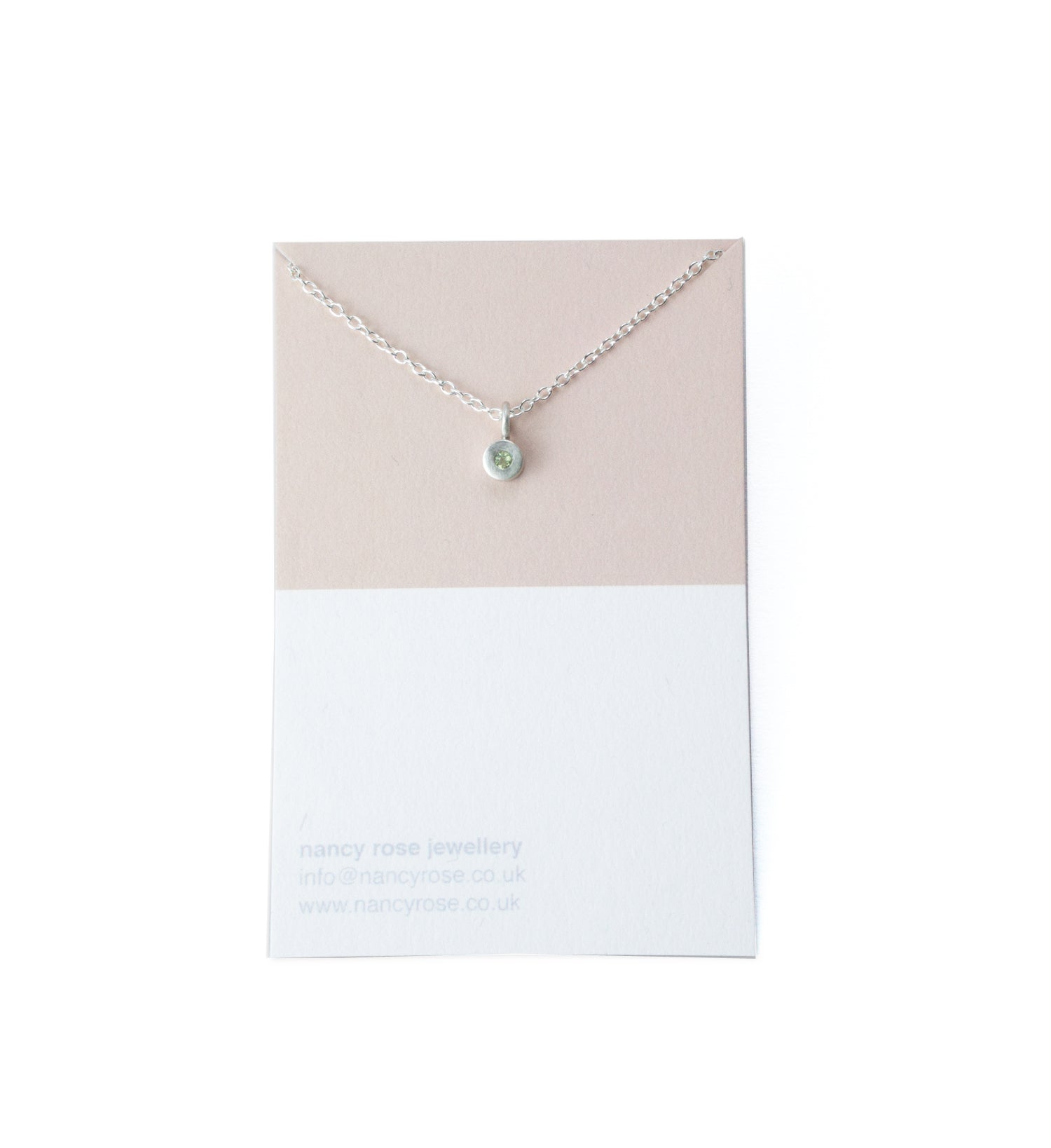 August birthstone silver necklace