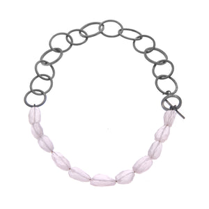Rose Quartz & ellipse heavy chain necklace -  - 1