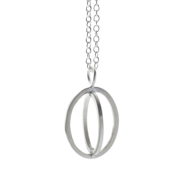 Medium ellipse pendant silver - Nancy rose jewellery
