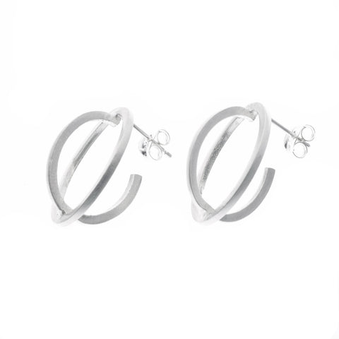 Medium ellipse stud earrings silver - Nancy rose jewellery