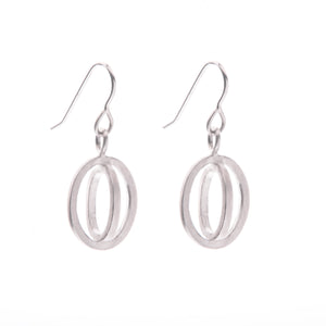 Small ellipse hook earrings silver - Nancy rose jewellery