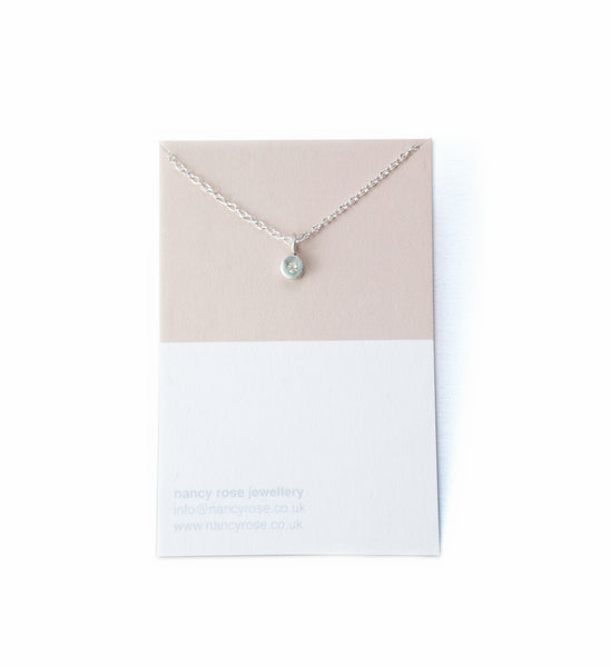 April birthstone silver necklace