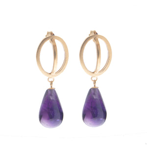 Ellipse Amythest drop earrings gold plate - Nancy rose jewellery - 1