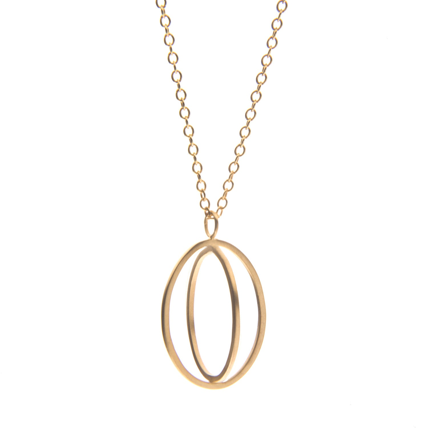 Large ellipse pendant gold plate - Nancy rose jewellery - 1