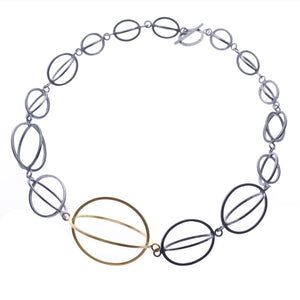 Graduated ellipse necklace Oxidised silver & 9ct gold -  - 1