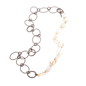 Lemon Quartz & ellipse light chain necklace - Nancy rose jewellery - 1